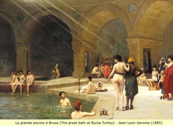 Lagrande piscine a Brusa (the great bath at Bursa Turkey by Jean-Leon Gerome (1885).jpg13